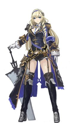 Anime girl with blonde hair, blue/black/gold, robe/dress as well as golden shoulder pads and a great sword. Anime Fantasy, Fantasy Girl, Chica Fantasy, Fantasy Character Design, Character Concept, Character Inspiration, Character Art, Fantasy Characters, Female Characters