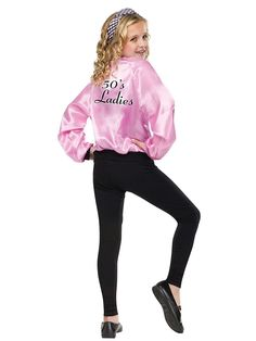 This satin jacket is a cool accessory for your little girl's 50's outfit.