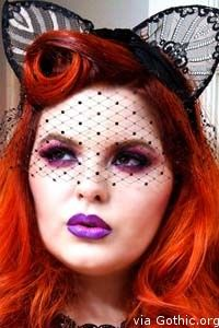 """Tess Munster and Batcakes Couture (Link: http://gothic.org/accessories/tess-munster-batcakes-couture/) Alternative model Tess Munster is at it again, but this time with goth accessories designer, Batcakes Couture. Here she's wearing Batcakes Couture signature sheer lace """"ears"""" with matching black bird cage """"blindfold"""" trimmed with swarovski crystals. If you love Tess' look, check out... - Gothic.org"""