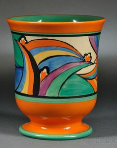 Clarice Cliff PotteryFantasque Ware, Comet five pedestal vase, England, circa 1930 Clarice Cliff, Rose Painting, Pottery, Art Deco Period, Ceramics, Porcelain Painting, British Art, Art Deco Design, Glass Art