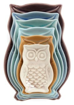 Cute nesting owl plate set