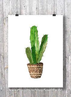 Digital art | Impression d'art aquarelle cactus | Cactus aquarelle | Cactus aquarelle peint à la main | décor chaleureux d'affiche 16 x 20 imprimer facilement réduite à 8 x 10. FAIT AVEC AMOUR ♥ Acheter 2 obtenir 1 gratuit ! Code promo : cadeau ____________________________ •Files