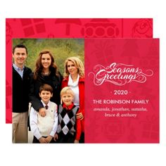 Family Seasons Greetings red christmas pattern Card - Xmascards ChristmasEve Christmas Eve Christmas merry xmas family holy kids gifts holidays Santa cards