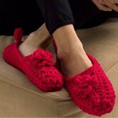 Red Rose Slippers | AllFreeCrochet.com
