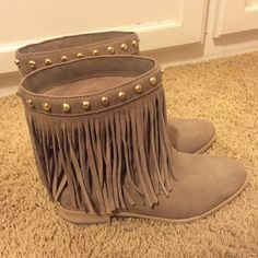 Michael Kors Fringe Booties Size 8 super cute fringe booties by Michael Kors. They're brand new, just too big for me. Don't have the original box but will be shipped with large Michael Kors dust bag. Both boots & dust bad authentic. Price is negotiable so feel free to make an offer. Michael Kors Shoes Ankle Boots & Booties