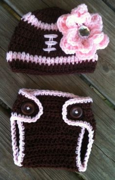 Newborn Baby Girl PINK n BROWN Crochet FOOTBALL Beanie