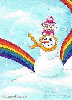 ACEO original #cat angle, #snowman, snowflake, rainbow, acrylic #painting