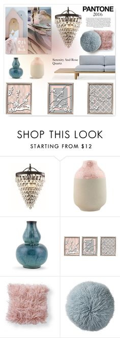 """""""Muted Serenity and Rose Quartz"""" by drenise ❤ liked on Polyvore featuring interior, interiors, interior design, casa, home decor, interior decorating, House Doctor, Kravet, Universal Lighting and Decor e Bloomingville"""