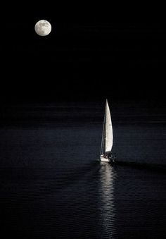 This is exactly what it looks/feels like sailing by the light of a full moon. This one