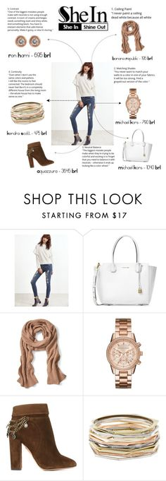 """She In! Shine out!"" by aanachiaradgiuseppe ❤ liked on Polyvore featuring Michael Kors, Banana Republic, Aquazzura, Kendra Scott and Ron Hami"