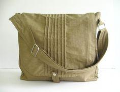 Sale - Khaki Water Resistant Messenger Bag, school bag, tote, cross body bag, practical, stylish - Tiffany on Etsy, $44.00