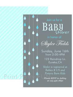 Rain Themed Baby Shower Invitation, Gender Neutral, Modern Design, Printable file