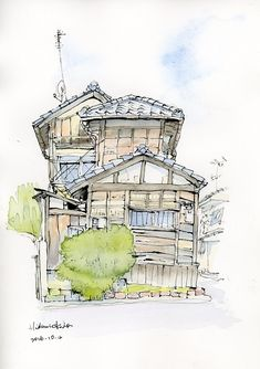 2016-10-4 「上七軒の建物」182x257mmインク (16-121)ずいき祭りの日に待ち時間を利用して描いた建物。ブログ京都情報ランキング