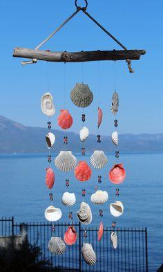 Driftwood Seashell Wind Chimes Handmade One-of-a-Kind Wind Seashell Wind Chimes, Seashell Art, Seashell Crafts, Beach Crafts, Beach House Decor, Diy Home Decor, Shell Decorations, Cork Crafts, Driftwood Art