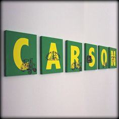 John Deere Name Wall Art think we ought to do one of these for the nursery. John Deere Boys Room, John Deere Nursery, John Deere Bedroom, Tractor Nursery, John Deere Kids, John Deere Baby, Deer Nursery, Boys Tractor Bedroom, Nursery Ideas