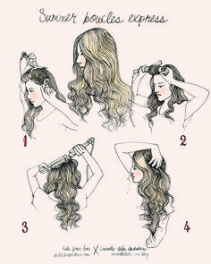 beach curls:  prep hair with rusk hair spray, don't use clamp; wrap hair on wand & curl away from the face