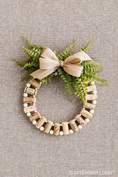 Mini Wine Cork DIY Ideas to Christmas Ornaments – Page 7 – Chic Cuties B… - Christmas Decor Ideas Wine Cork Wreath, Wine Cork Ornaments, Wine Cork Art, 50 Diy Christmas Ornaments, Xmas Crafts, Christmas Wreaths, Christmas Decorations, Christmas Ideas, March Crafts