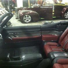70 chevelle convertible custom interior burgundy black and grey. red door panels console aluminum chrome