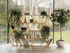 Tetra Modular Shelving System Oak, Six Units by Made in Ratio Wooden Bookcase, Bookcase Shelves, Glass Shelves, Bookcases, Home Furniture, Furniture Design, Unique Bookshelves, Geometric Shelves, Hexagon Shelves