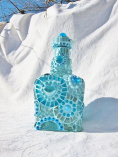 A Study in Turquoise  Mosaic Bottle by waschbear on Etsy, $274.00