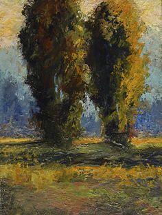 Acrylic Painting 9x12  © Bobbi Doyle-Maher Impressionist Landscape  Impasto Trees via Etsy.