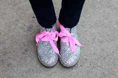 glitter desert boots with pink laces.  thanks NYFW for introducing me to this.
