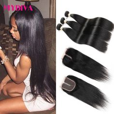 Brazilian Virgin Hair With Closure 8A Grade Unprocessed Mink Brazilian Straight Hair 3 Bundles With Closure Human Hair Weave     *** Click the image for detailed description