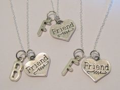 3 Initial Heart Best Friend Necklaces BFF