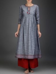 Grey-Red Embroidered Cotton Chambray Kurta with Gathers