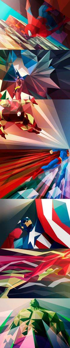 Superhero cubist art by Liam Brazier