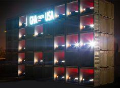 AUDI shipping container scoreboard illuminates with A8 headlights