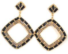 Black and tan square earrings from LookOutBoutique.com