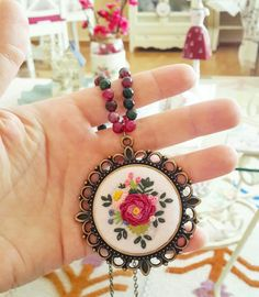 Flower Hand Embroidered Jewelry - filigree vintage rose pendant in gothic style - unique gift for yourself and each women Silk Ribbon Embroidery, Hand Embroidery Designs, Beaded Embroidery, Cross Stitch Embroidery, Embroidery Patterns, Stitch Patterns, Polymer Clay Embroidery, Jewelry Wall, Brazilian Embroidery