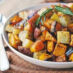 Butternut Squash, Purple Onions, and Red Potatoes are roasted olive oil, fresh rosemary, fresh sage, and fresh thyme. So delicious!