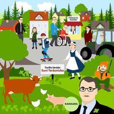 Keskustan ihannekylä - illustration @ Stina Tuominen
