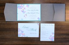 Welcome! This multi colored pastel petals invitation suite can be customized to match your wedding colors and theme. This invitation suite comes with a pocketfold enclosure, wedding invitation mounted on card stock, postcard reply card, reception card, and white outer envelope. Feel free to contact me for colors available if you would like to change the colors of this invitation suite.