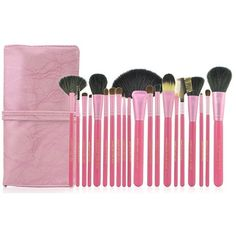 High Quality Goat Hair 20 PCs/Set Cosmetic MakeUp Brushes Set With BeigeLeather Bag Kit Pink+free shipping