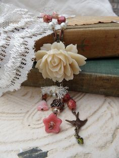 Shabby Chic Rose Necklace Set by thewhisperingseas on Etsy, $35.00