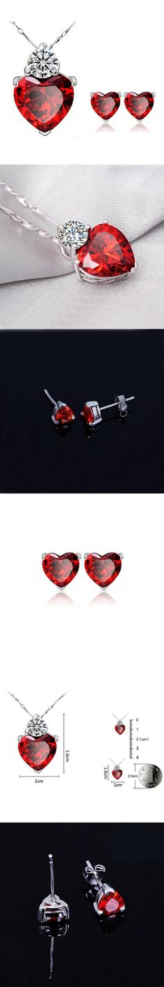 White Gold Color Red Stone Big CZ Cute Heart Pendant Chain Necklace Stud Earrings Fashion Jewelry Sets for Women Girls Gift