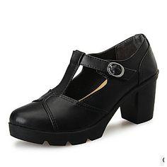 f547bbd1bf   34.99  Mulheres Sapatos Couro Ecológico Primavera Conforto Saltos  Caminhada Salto Robusto Dedo Fechado para Casual Preto Cinzento Vinho Nú