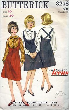 Vintage 1960s Low Scoop Front Jumper Dress...Criss Cross Suspender Back...Peter Pan Collar Blouse...1964 Butterick 3278 Bust 30