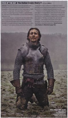 """Radio Times (? Guessing here!) """"Pick of the Day"""" - the last installment of """"The Hollow Crown."""" Better known, of course, as """"Henry V."""""""