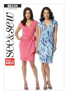 B6154 | Misses' Pleated Wrap Dress Sewing Pattern | Butterick Patterns