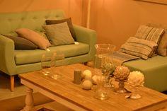 Retro vintage salon turquoise stof