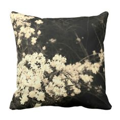 White Wildflower Throw Pillow - decor gifts diy home & living cyo giftidea Black Throw Pillows, Diy Pillows, Custom Pillows, Decorative Pillows, Floral Style, Knitted Fabric, Wild Flowers, Knitting, Photography Gifts