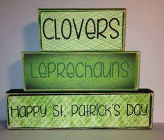 Clovers Leprechauns Happy St. Patrick's Day Decor St. Patrick's Day Blocks Primitive Block Personalized Decor