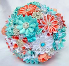 Fabric Wedding Bouquet Brooch bouquet turquoise coral and от LIKKO