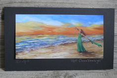 Signed Print Hot Ocean View Night Mounted on Board Sunset Beach Wine P.D. Hart #Realism
