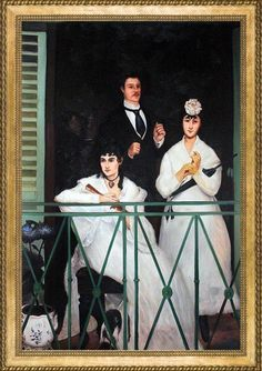 """Édouard Manet """"The Balcony, Reproduction Oil On Canvas Edouard Manet, Classic Home Decor, Oil Painting Reproductions, Verona, Impressionism, Balcony, Home Furniture, Oil On Canvas, Braids"""