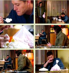 Dean: dude, pie Sam puts chicken feet next to the pie ruining deans appetite. Haha best scene ever Shut Up Dr. Supernatural Season 7, Supernatural Quotes, Winchester Boys, Winchester Brothers, Castiel, Jensen Ackles, Cw Tv Series, Crying My Eyes Out, Book Tv